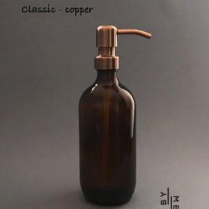 500ml amber glass bottle with copper metal pump