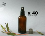 100ml Amber Glass Spray bottles with black fine mist sprayer (BULK 35 PACK – FREE SHIPPING)
