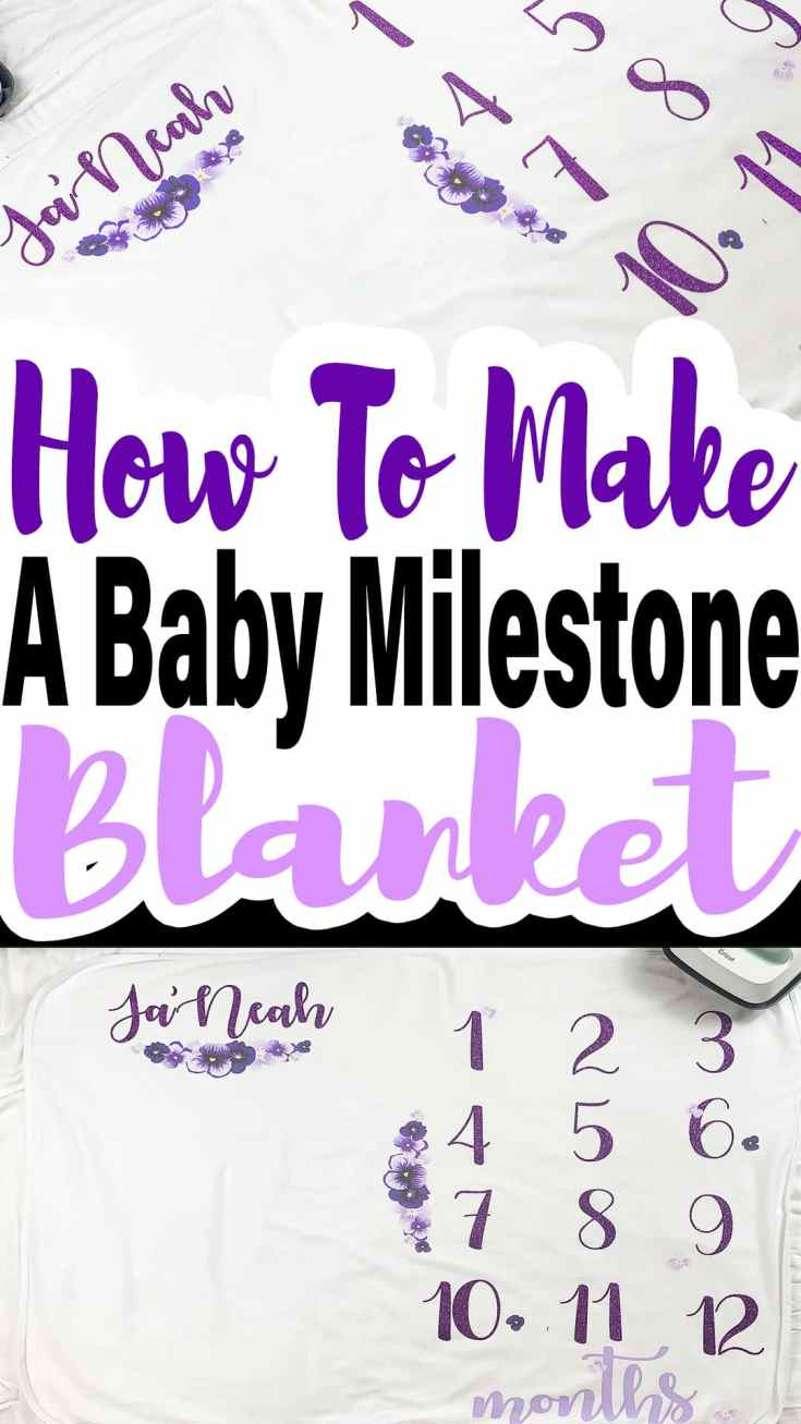 Learn how to use your Cricut EasyPress 2 to make this cute little baby milestone blanket. The EasyPress makes creating projects like this a breeze! #milestones #milestoneblanket #cricutmade #cricut #babyshowerideas #babyblanket