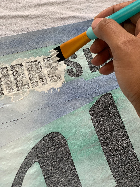 painting a dollar tree door mat white wit green vinyl over