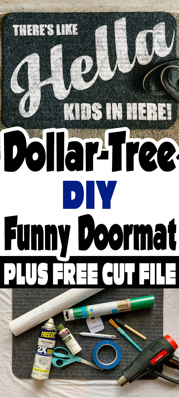 I am always looking at dollar store items like, what kind of budget decorator can I be today. That's how my funny doormat Dollar Tree DIY came about. #cricutmade #cricutexplore #cricutprojects #cricutcrafts #doormat #diy #outdoormat