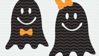 Ghosts with Bows Halloween Cut File