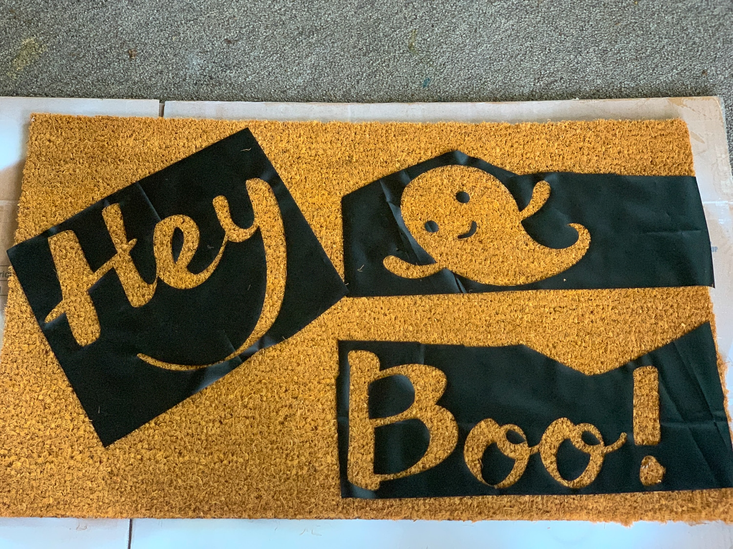 Vinyl in place on doormat