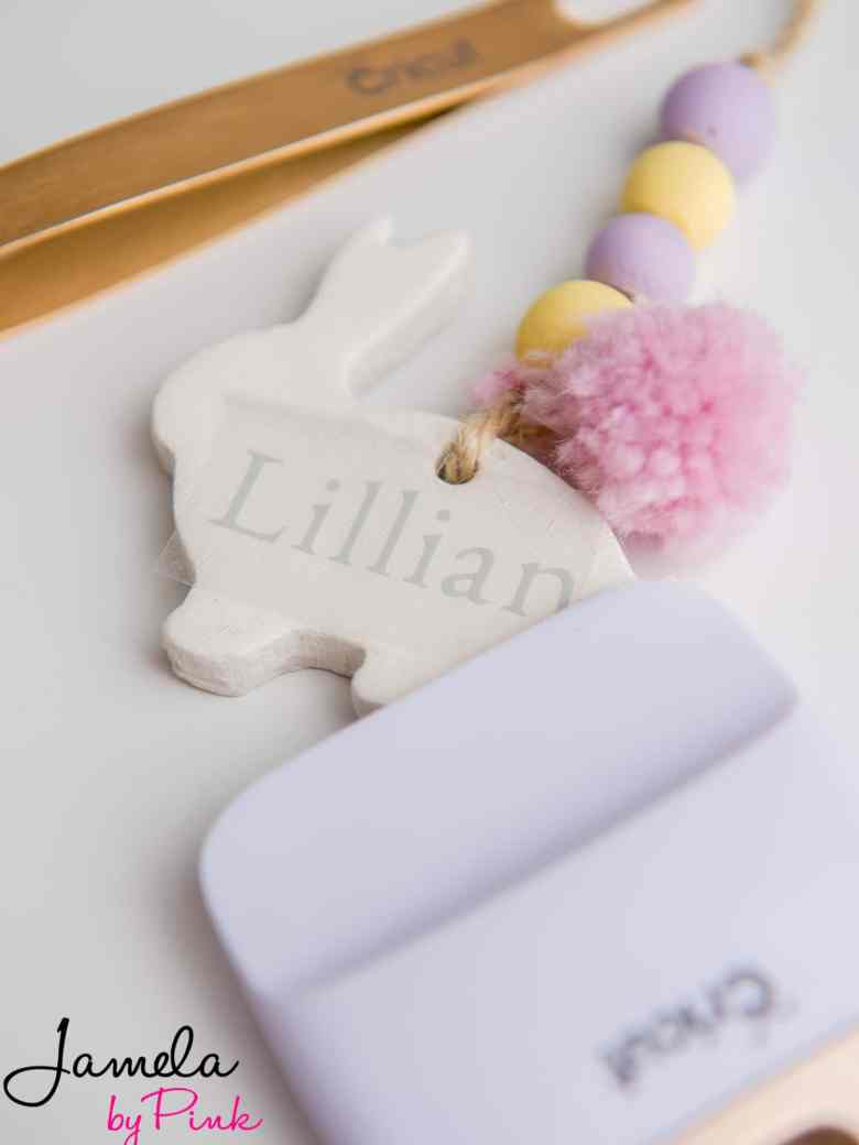 close up of air dried clay personalized easter basket tag