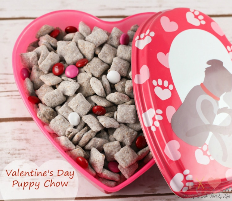 valentines day puppy chow in a red heart tin