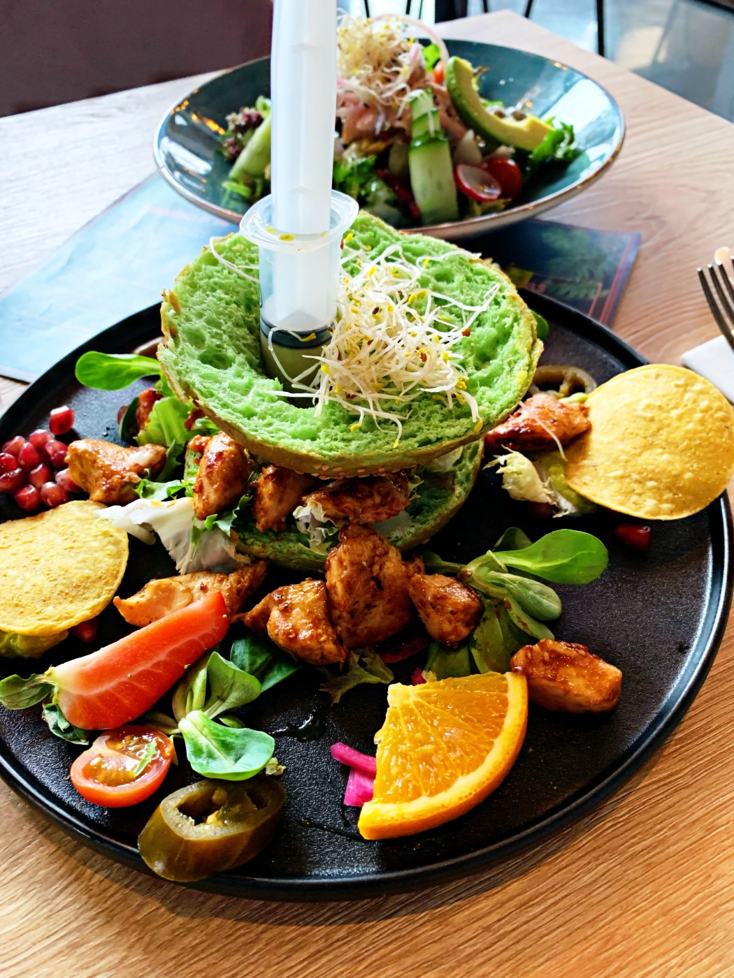 Chicken with an injection of avocado