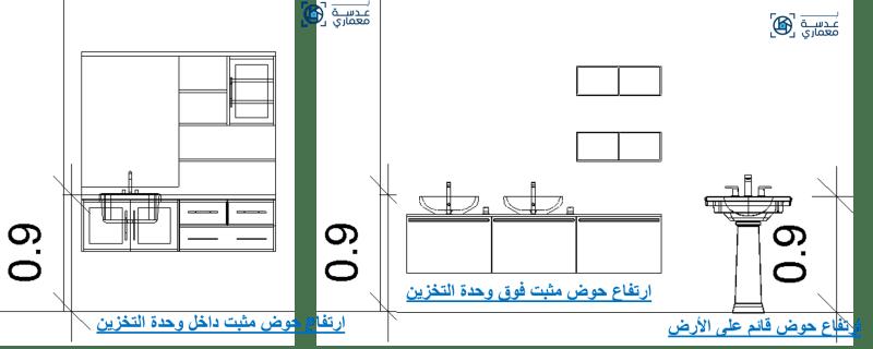 أبعاد بعض الأحواض بمقاسات مختلفة -تصميم الحمامات إعداد مهندسة معمارية ألاء محمد عبد الغنى