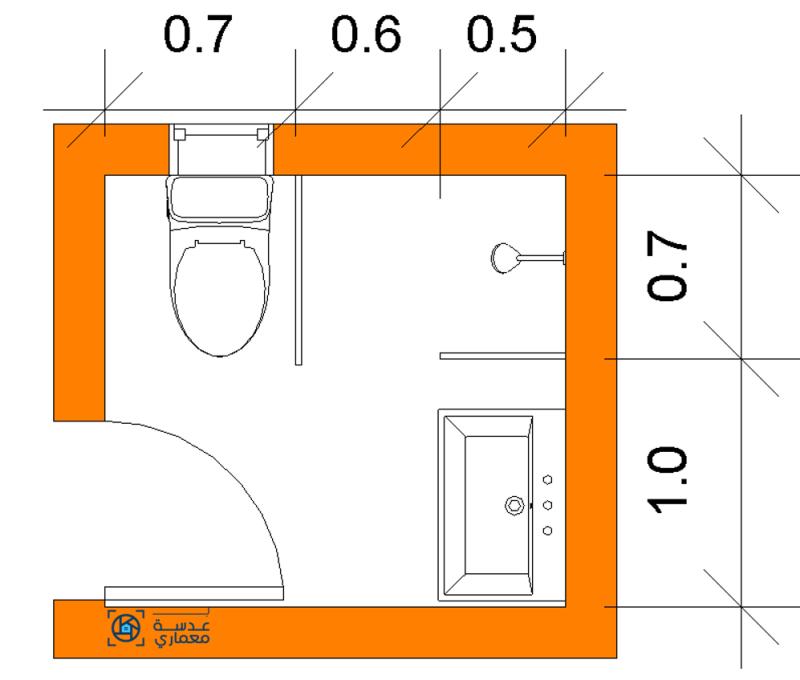 تصميم الحمام المربع