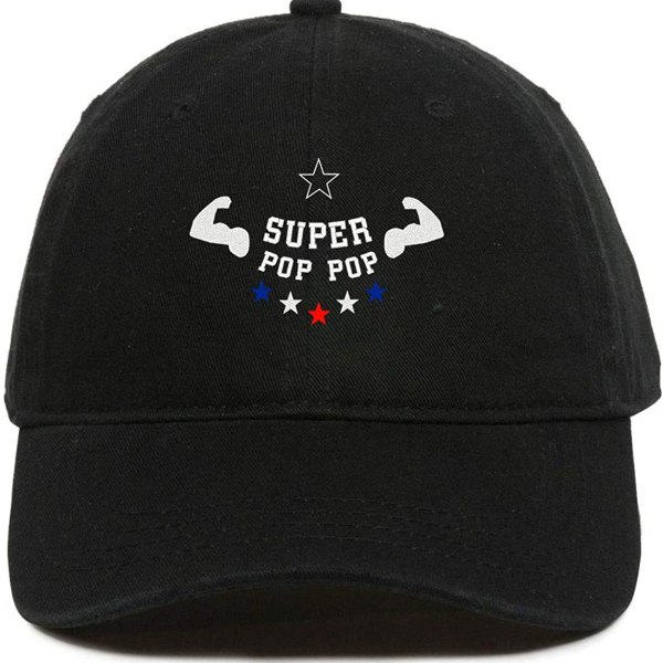 Super Pop Pop Chard Baseball Cap Embroidered Dad Hat Cotton Adjustable Black