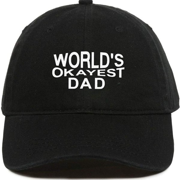 World's Okayest DAD Baseball Cap Embroidered Dad Hat Cotton Adjustable Black