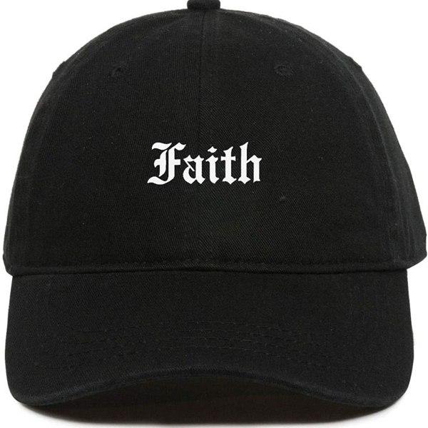Faith Baseball Cap Embroidered Dad Hat Cotton Adjustable Black