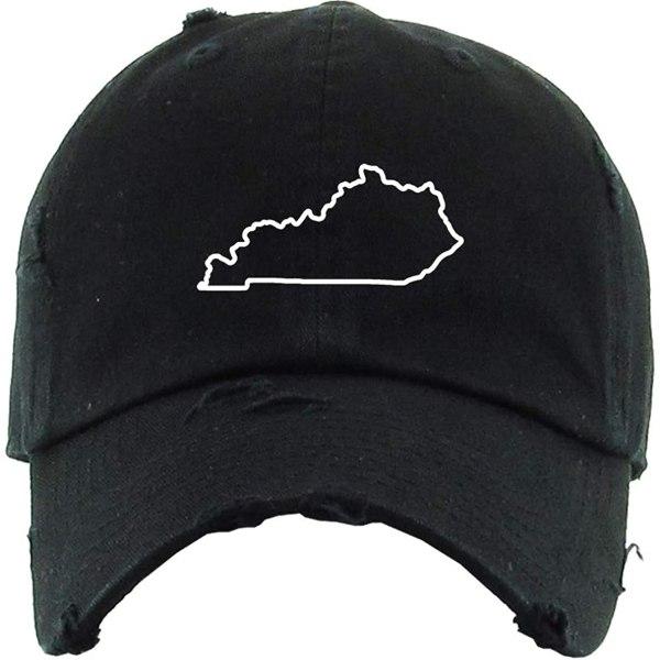 Kentucky Map Outline Baseball Cap Embroidered Vintage Dad Hat Cotton Adjustable Black