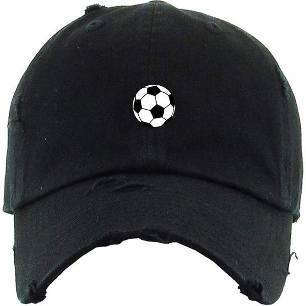 Soccer Ball Baseball Cap Embroidered Vintage Dad Hat Cotton Adjustable Black