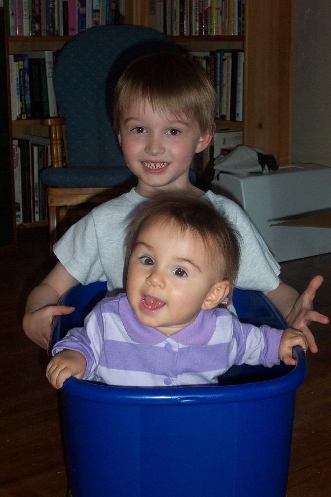 Kids in bin