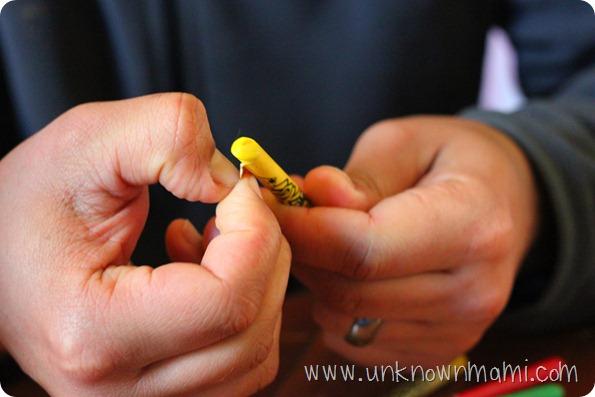 Peeling a crayon