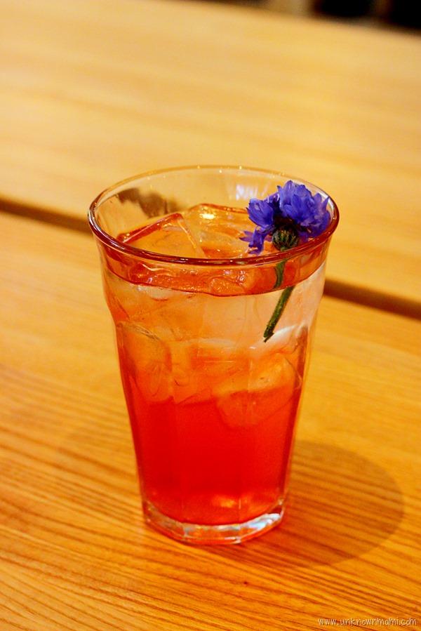 Sparkling strawberry rose vinegar drink
