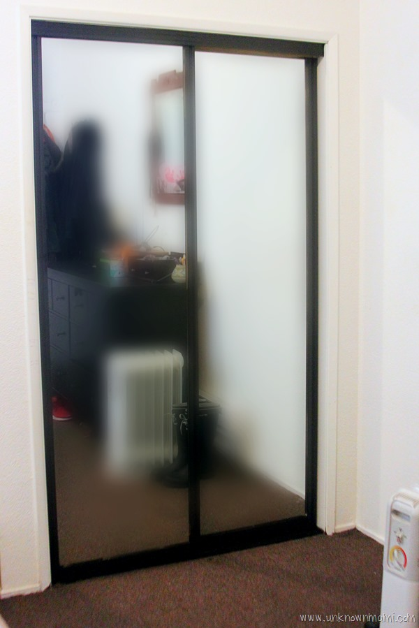 Black spray painted closet doors