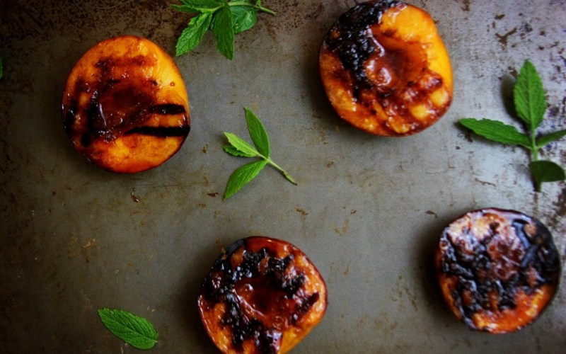 Grilled Peaches and Sutter Home Pink Moscato