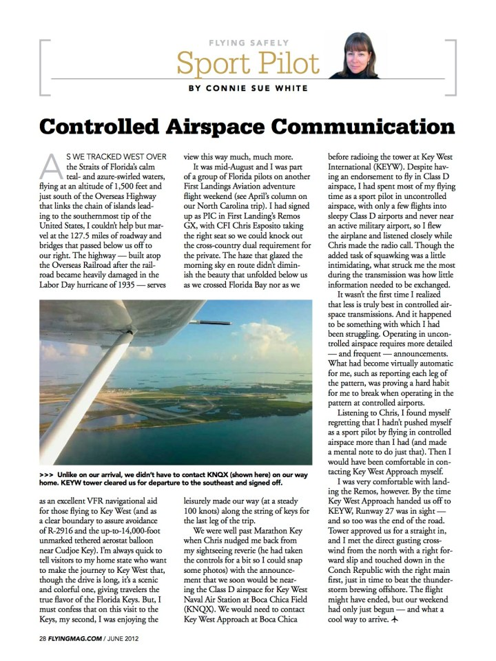 Controlled Airspace Communications, FLYING, 2012 copy