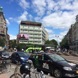 A busy afternoon at Central Stockholm's high-end public square, Stureplan, By C.S. White