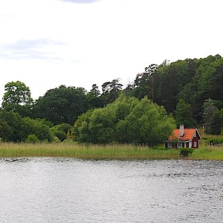 Scenic of a small, lonely red house amid green lake grass on Stockholm Archipelago, near Drottningholm Palace, Sweden. By C.S. White