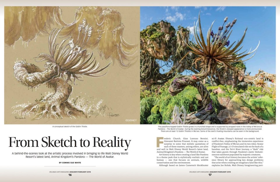 Orlando Arts Magazine Feature From Sketch to Reality Highlights Artistry of Disney's Pandora by Connie Sue White
