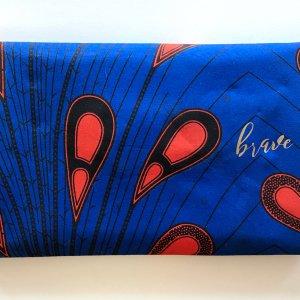 back - Tribal Marks by 'Dami Literal Envelope Ankara Clutch in royal blue and deep orange peacock or tear drop pattern
