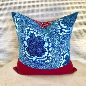 Tribal Marks by 'Dami handmade Woven African Aso-Oke and Ankara Wax Print Cloth ethnic Pillow Cover 18x18