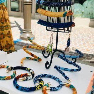 Handmade Ankara jewelry composition from Tribal Marks by 'Dami