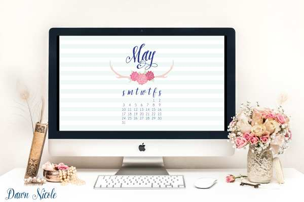 May Calendar Printable + Desktop Wallpaper | bydawnnicole.com