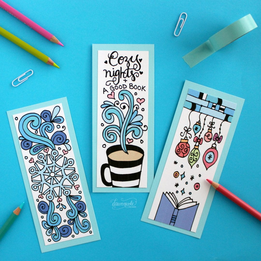 Winter Bookmarks Coloring Page Dawn Nicole Designs 174