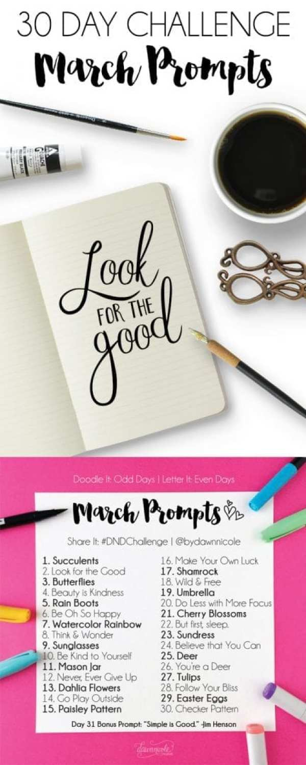 March Challenge Prompts. Join these free 30 day challenges on Instagram to practice improve your art + lettering skills! | dawnnicoledesigns.com