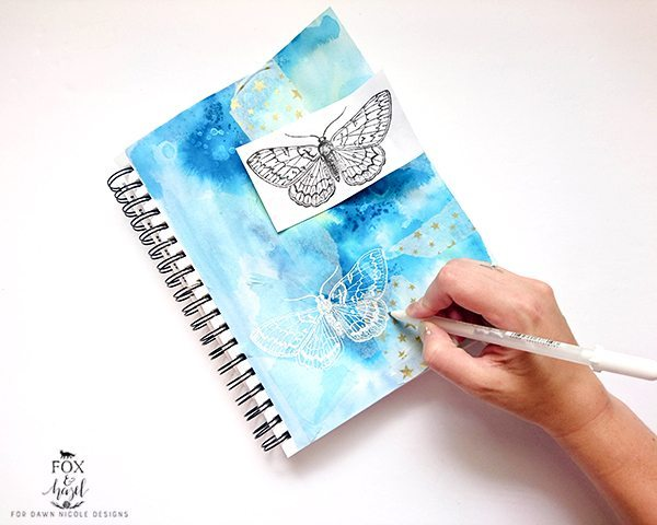 Butterfly Art Journal Page Step by Step / Fox & Hazel for Dawn Nicole Designs