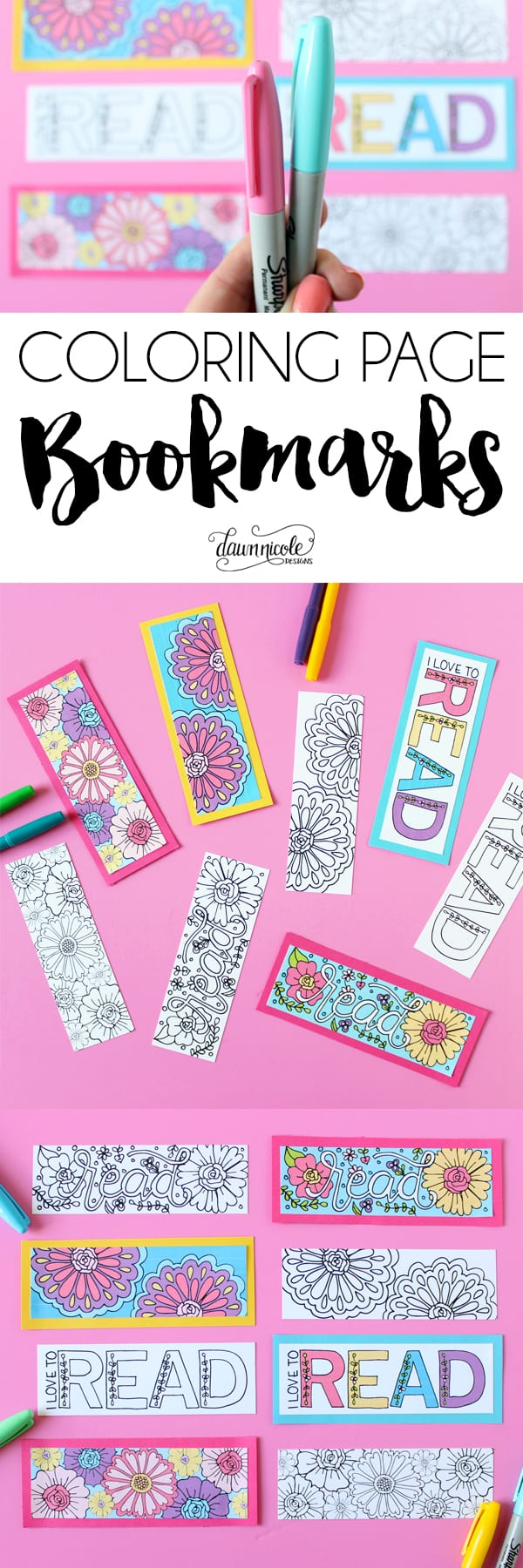 Summer Coloring Page Bookmarks | DawnNicoleDesigns.com