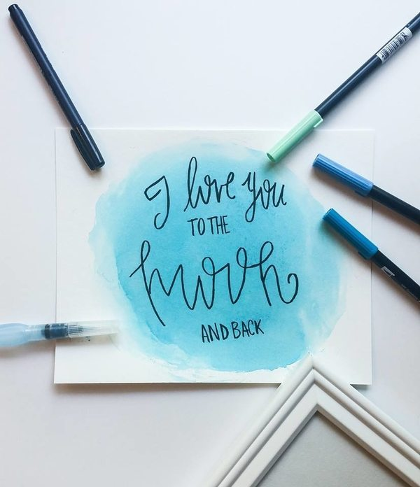 "DIY Home Decor Print |Simple ""I Love You To The Moon And Back"" Print Tutorial for DawnNicoleDesgins.com"