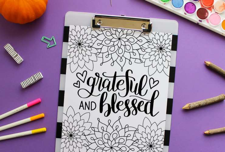 Grateful and Blessed Free Coloring Page | dawnnicoledesigns.com