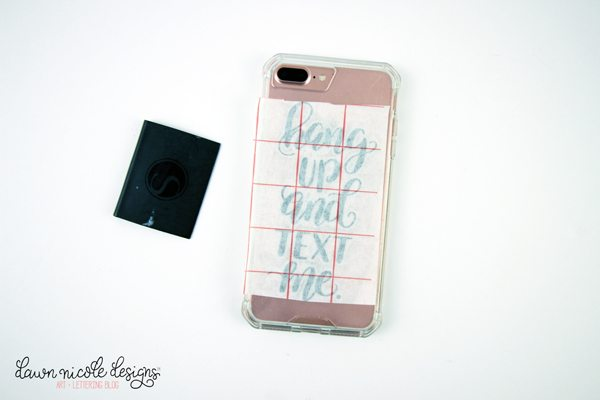 Hand-Lettered Hang Up and Text Me Free Cut File. Plus, how to whip up a cute and easy DIY Phone Case! DawnNicoleDesigns.com