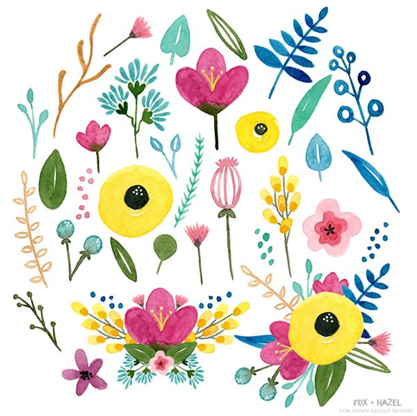 Free Summer Watercolor Flower Graphics -- Fox + Hazel for Dawn Nicole Designs