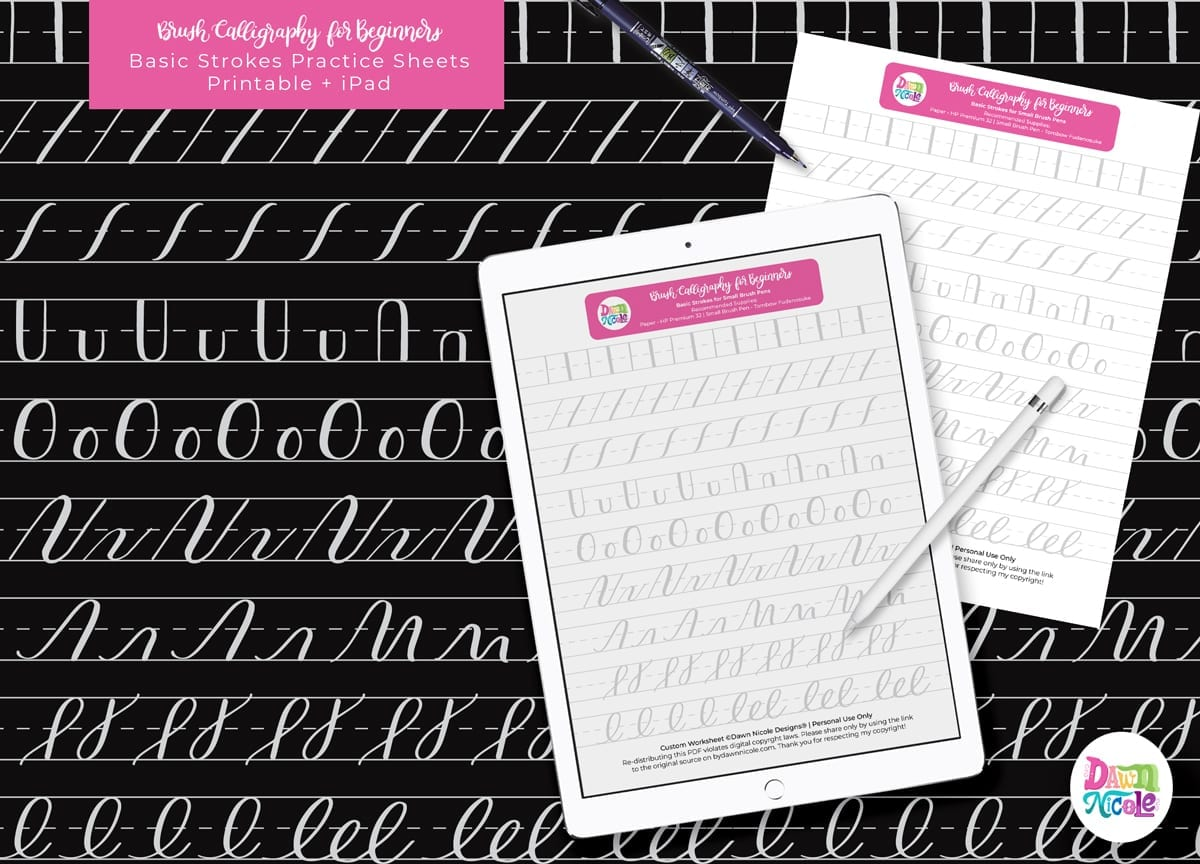 20+ Free Brush Lettering Practice Sheets Dawn Nicole
