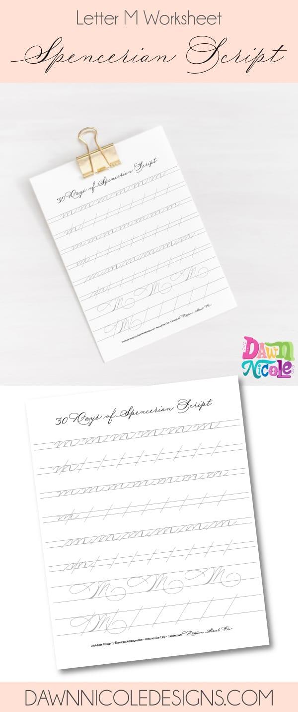 Spencerian Script Letter M Worksheets