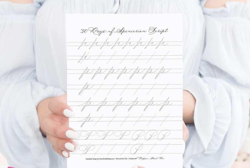 Spencerian Script Style: Letter P Worksheets. This post is part of the 30 Days of Spencerian Script Style Worksheets series. I'm posting a new free Spencerian Style Practice Worksheet every day for thirty days!