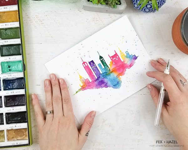 Easy Watercolor Cityscape Step-by-Step Tutorial - Fox + Hazel for Dawn Nicole Designs-35
