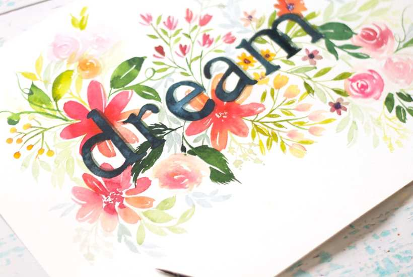 Watercolor Floral Typography Tutorial. Inkstruck Studio is giving us a step-by-step lesson on how to create this stunning typographic watercolor artwork.