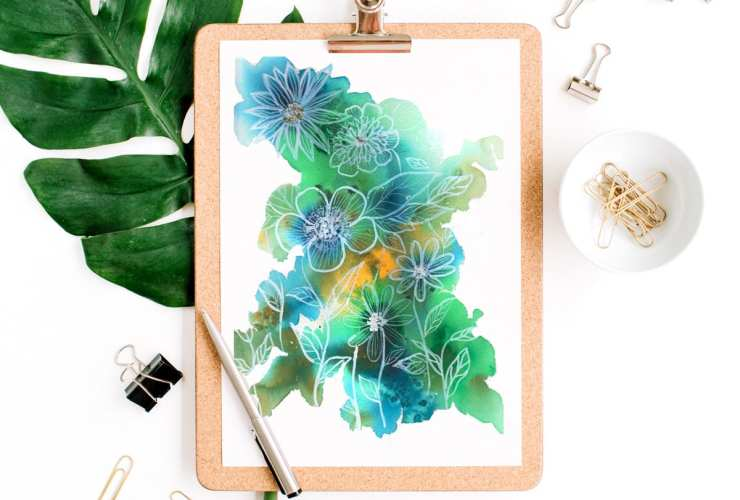 Easy Abstract Watercolor Florals Tutorial. Learn to paint beautiful abstract watercolor florals in this step by step tutorial - Inkstruck Studio for Dawn Nicole Designs