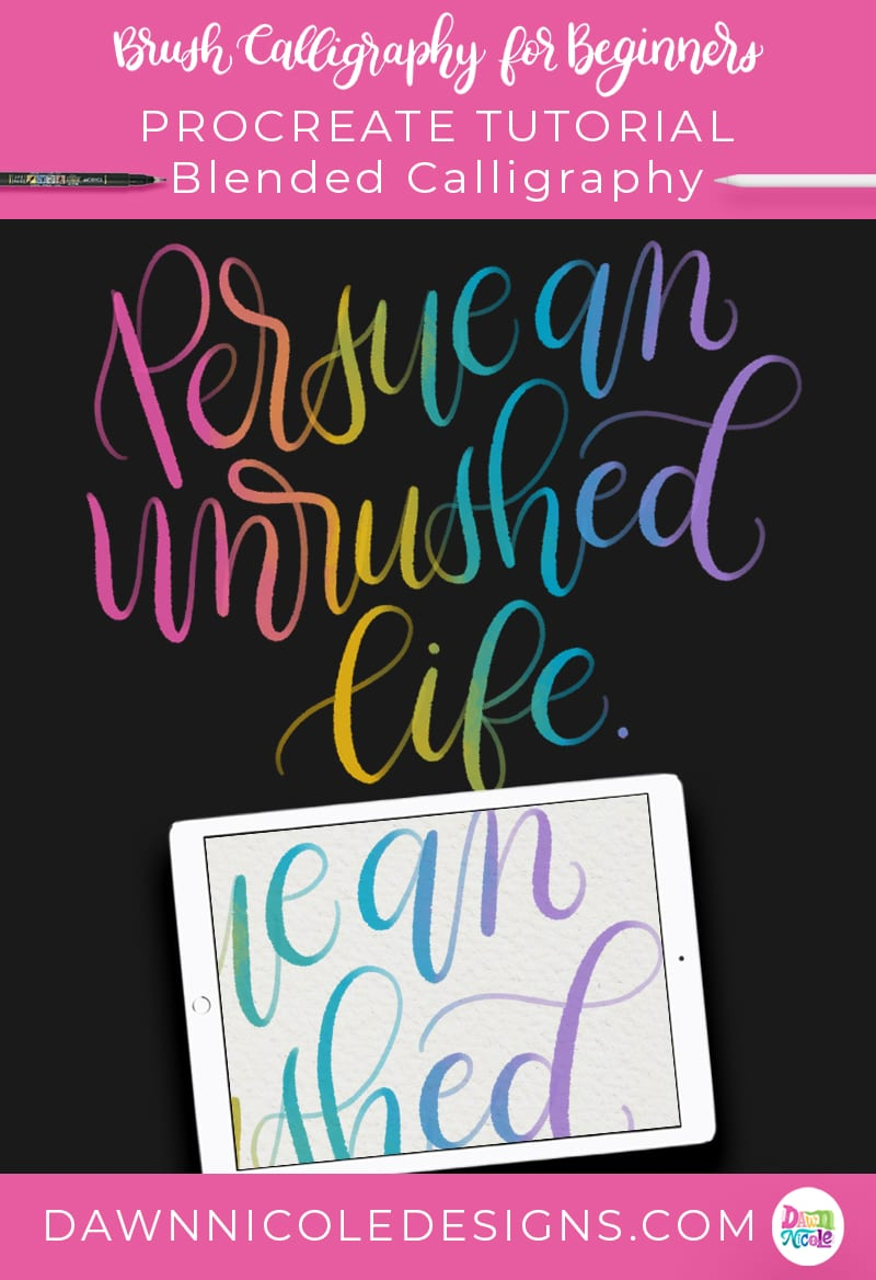 Procreate Tutorial: Colorful Blended Calligraphy. Learn how to use my free Ombré Bleed Procreate Brush to create this easy colorful blended calligraphy.