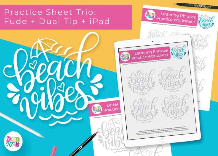 Beach Vibes Lettering Practice Sheets
