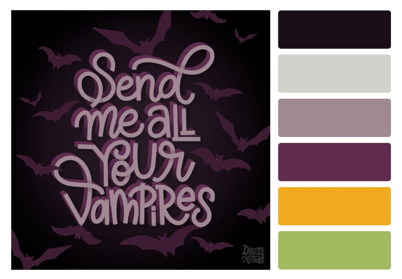 Haunted Dreams Color Palette. Grab the free color palette and use the lettering pieces I created using it to inspire your own hand-lettered artwork!