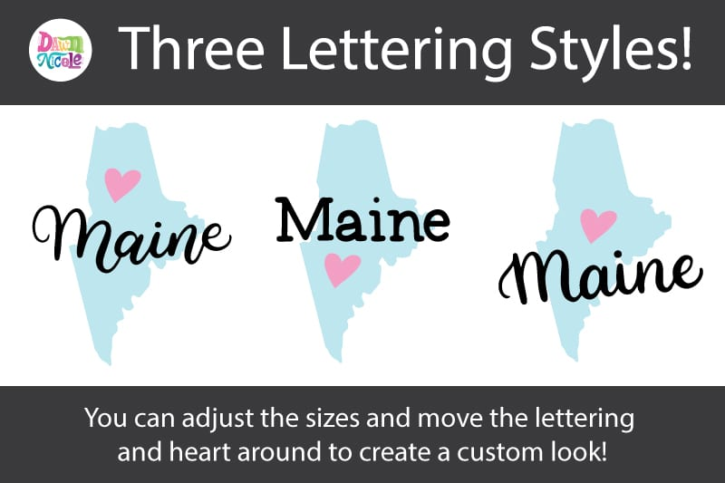 Hand-Lettered Maine SVG Cut File. Grab this free hand-lettered and illustrated state art SVG in three lettering style options!