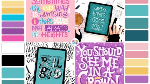 Hand Lettering Inspiration: Part One. I'm sharing all my lettering challenge work from this month, along with some lettering tips and my color palettes!