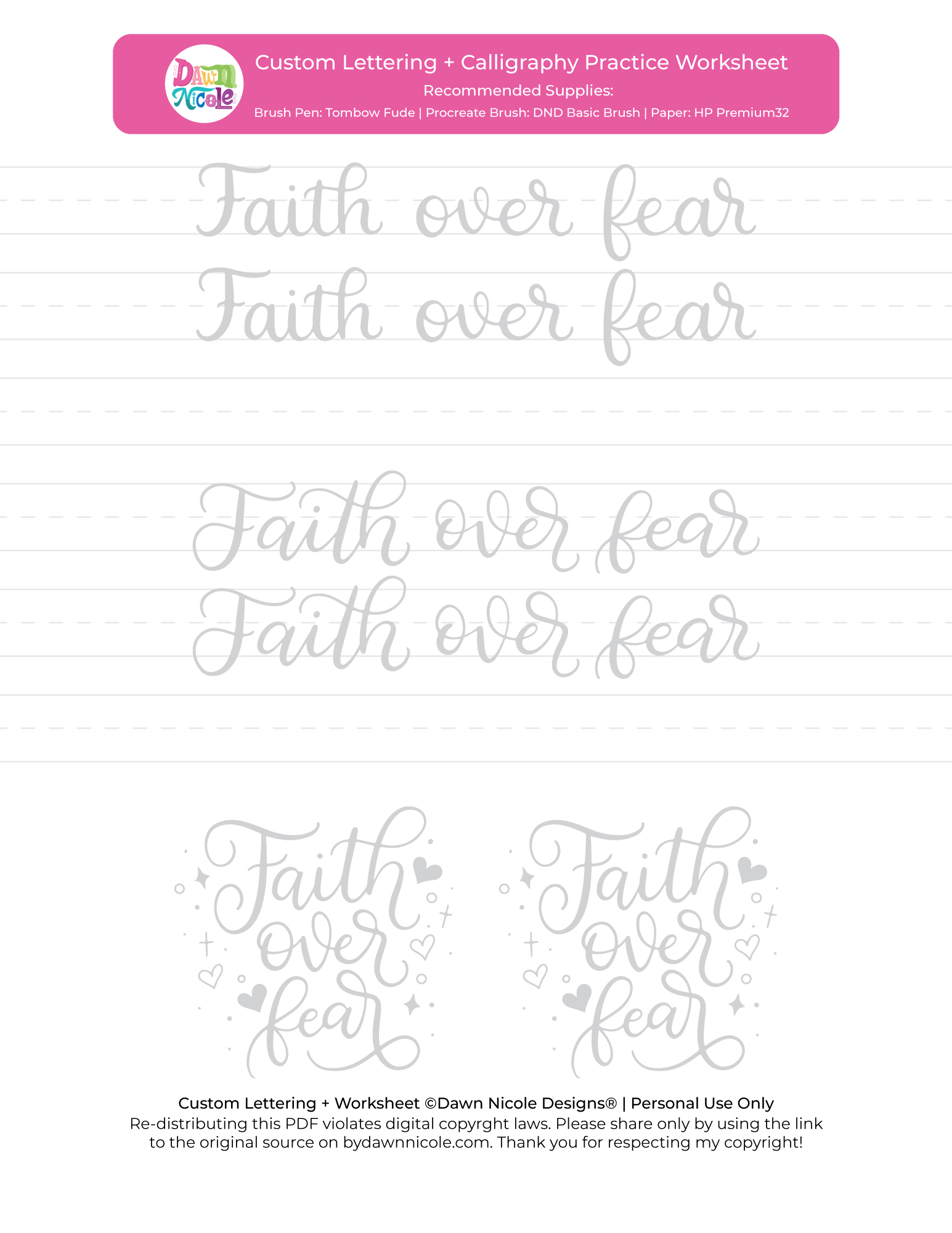 Faith Over Fear Brush Calligraphy Practice Sheets